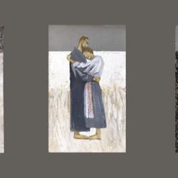 Триптих на тему «Тени забытых предков», Боковые - 75х60 см. Центральная - 45х60 (масло, акрил, фактурная паста)
